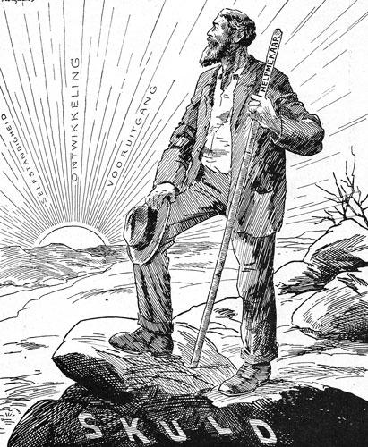 Hierdie tekening van D.C. Boonzaaier beeld die rebelle se bevryding van skuld uit. Dit het op 10 November 1917 in De Burger verskyn.
